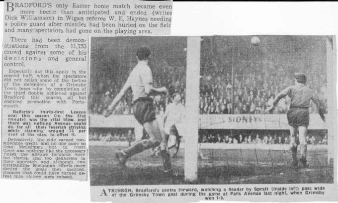 Grimsby Town Easter Tuesday 24 April 1962