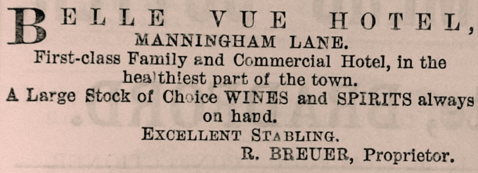 1881-11-12 advert for Belle Vue Hotel