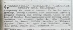 1923-04-28 YS advert for Greenfield Athletic grounds