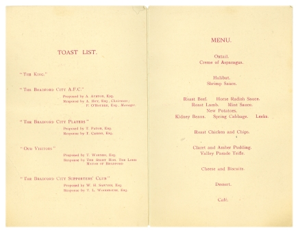 1929 celebration menu detail