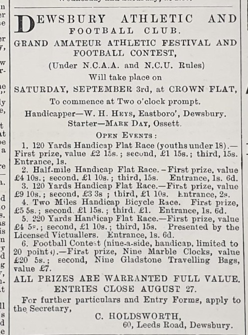 1887-08-25 Advert Dewsbury Athletics Festival