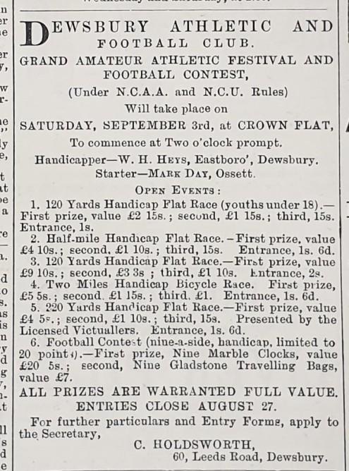 1887-08-25 Advert Dewsbury Athletics Festival