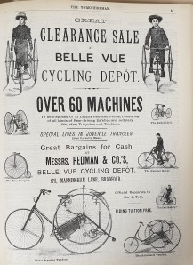 1887-07-14 Yorkshireman advert for bicycles - Belle Vue