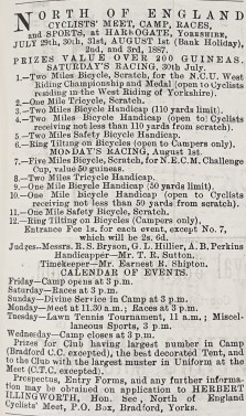 1887-07-14 Yorkshireman advert for Harrogate cyclists camp